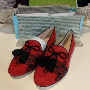 Kate Spade Shirley charm red kid suede flats